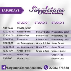 Singletons Dance Academy Saturday Timetable